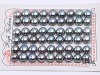 Wholesale Cards of 9.5-10mm Black Flat Freshwater Pearls---27 Pairs LF048