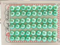 Wholesale Sheets of 10-10.5mm Light Green Flat Pearls---27 Pairs LF051
