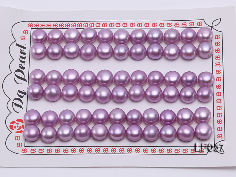Wholesale Cards of 10-10.5mm Pink Flat Pearls---33 Pairs big Image 1