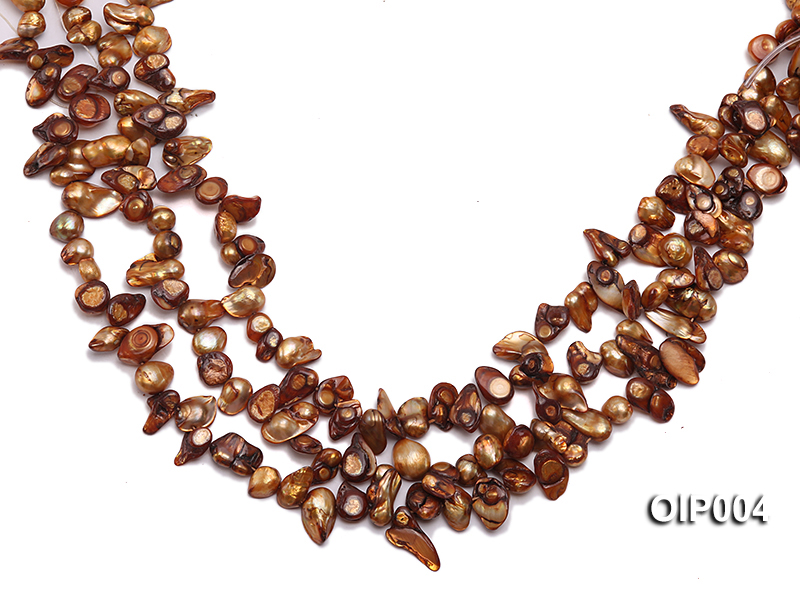 Wholesale & Retail 9X11mm Coffee Irregularly-shaped Pearl String big Image 1