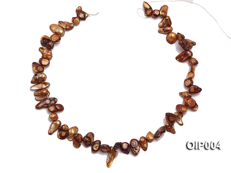 Wholesale & Retail 9X11mm Coffee Irregularly-shaped Pearl String big Image 3