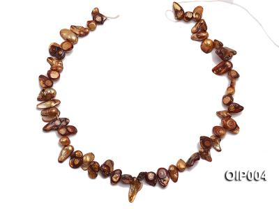 Wholesale & Retail 9X11mm Coffee Irregularly-shaped Pearl String OIP004 Image 3