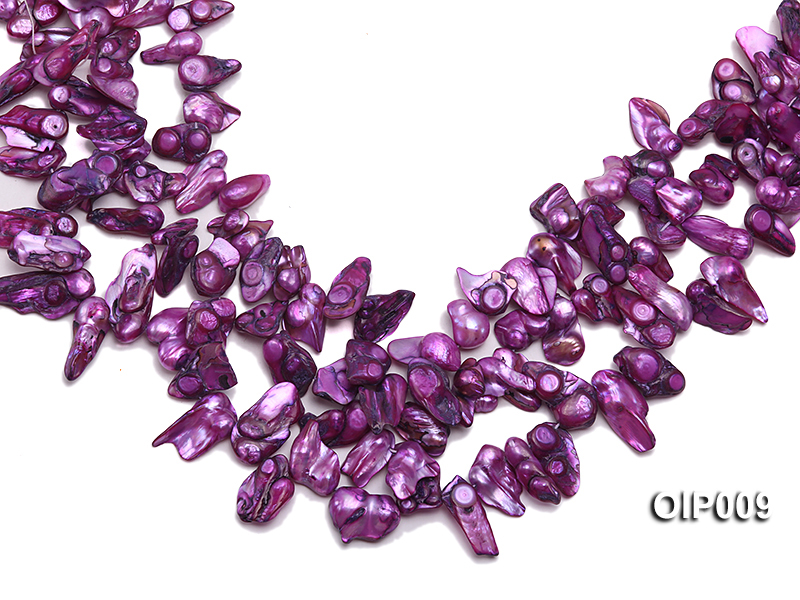 Wholesale & Retail 12x25mm Lavender Irregularly-shaped Pearl String big Image 1