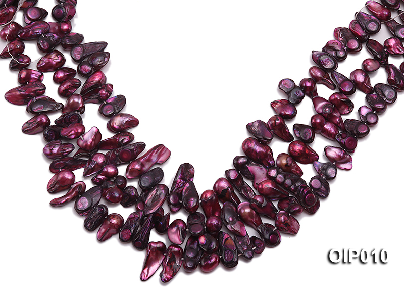 Wholesale & Retail 12x25mm Dark Purple Irregularly-shaped Pearl String big Image 1
