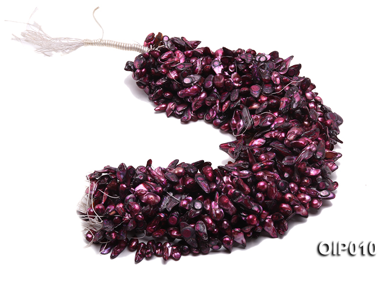 Wholesale & Retail 12x25mm Dark Purple Irregularly-shaped Pearl String big Image 4