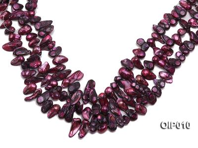 Wholesale & Retail 12x25mm Dark Purple Irregularly-shaped Pearl String OIP010 Image 1