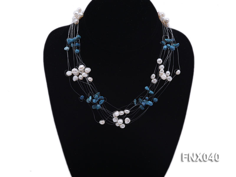 6-7mm Cultured Freshwater Pearl & Blue Turquoise Chips Necklace big Image 2