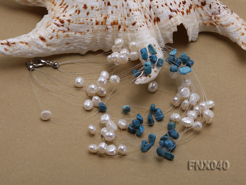 6-7mm Cultured Freshwater Pearl & Blue Turquoise Chips Necklace big Image 4