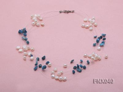 6-7mm Cultured Freshwater Pearl & Blue Turquoise Chips Necklace FNX040 Image 1