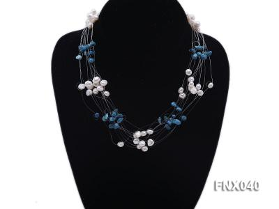 6-7mm Cultured Freshwater Pearl & Blue Turquoise Chips Necklace FNX040 Image 2