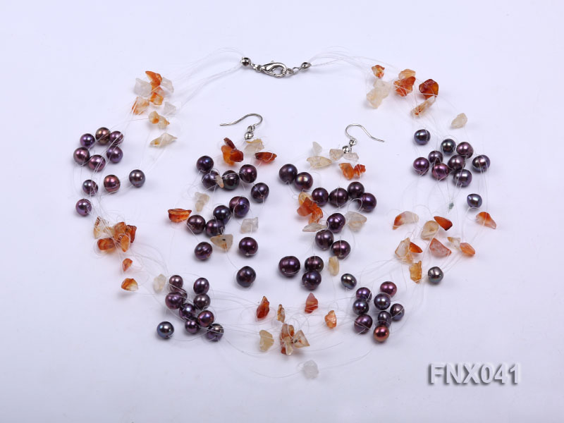 6-7mm Cultured Freshwater Pearl & Orange Agate Chips Necklace and Earrings Set big Image 1