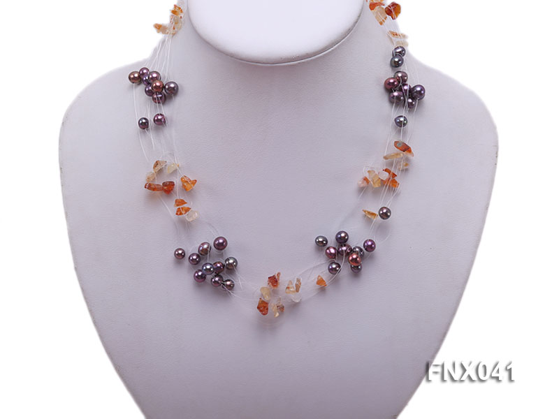 6-7mm Cultured Freshwater Pearl & Orange Agate Chips Necklace and Earrings Set big Image 3