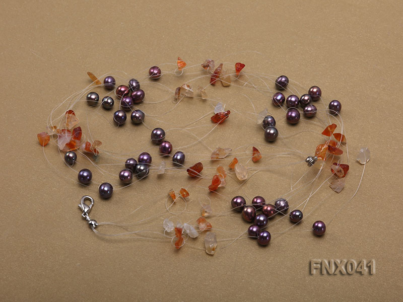 6-7mm Cultured Freshwater Pearl & Orange Agate Chips Necklace and Earrings Set big Image 5