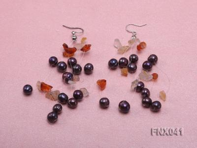 6-7mm Cultured Freshwater Pearl & Orange Agate Chips Necklace and Earrings Set FNX041 Image 2