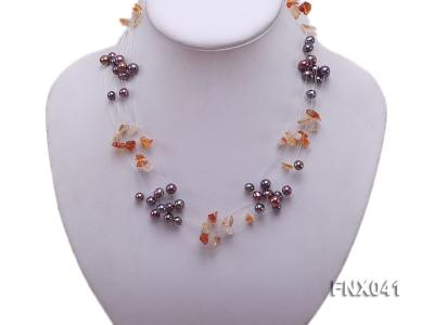 6-7mm Cultured Freshwater Pearl & Orange Agate Chips Necklace and Earrings Set FNX041 Image 3