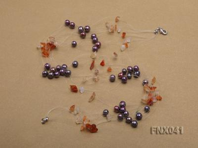 6-7mm Cultured Freshwater Pearl & Orange Agate Chips Necklace and Earrings Set FNX041 Image 4