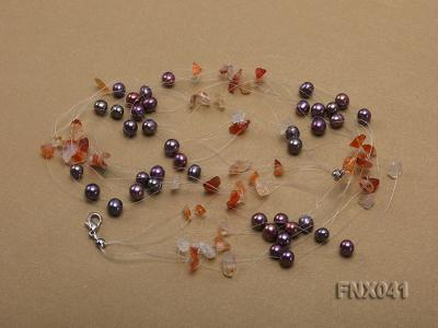 6-7mm Cultured Freshwater Pearl & Orange Agate Chips Necklace and Earrings Set FNX041 Image 5