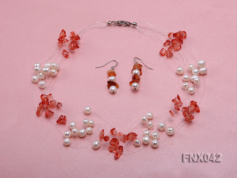 6-7mm Cultured Freshwater Pearl & Red Agate Chips Necklace and Earrings Set big Image 1