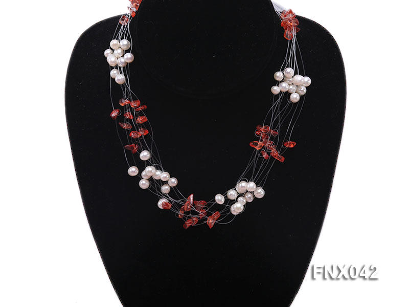 6-7mm Cultured Freshwater Pearl & Red Agate Chips Necklace and Earrings Set big Image 3