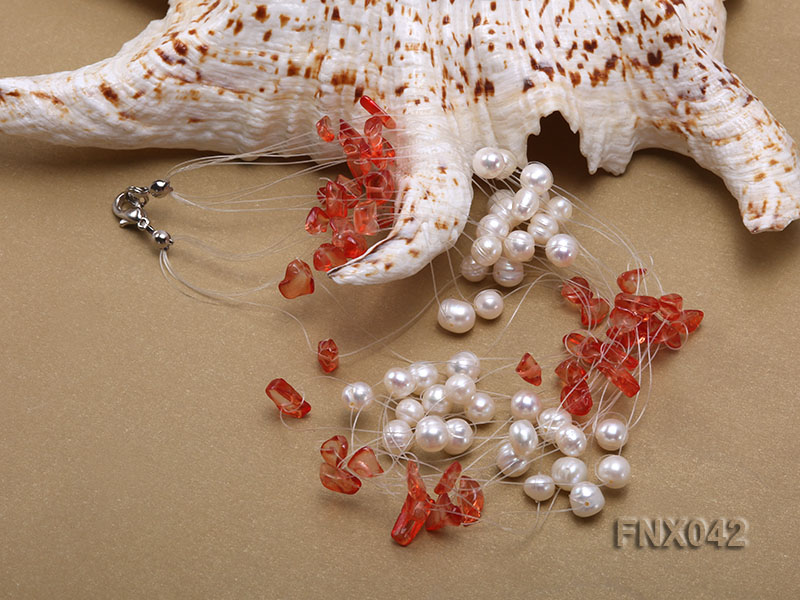6-7mm Cultured Freshwater Pearl & Red Agate Chips Necklace and Earrings Set big Image 4