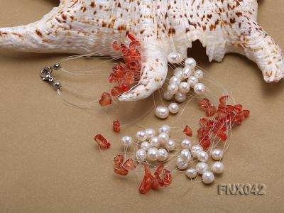 6-7mm Cultured Freshwater Pearl & Red Agate Chips Necklace and Earrings Set FNX042 Image 4