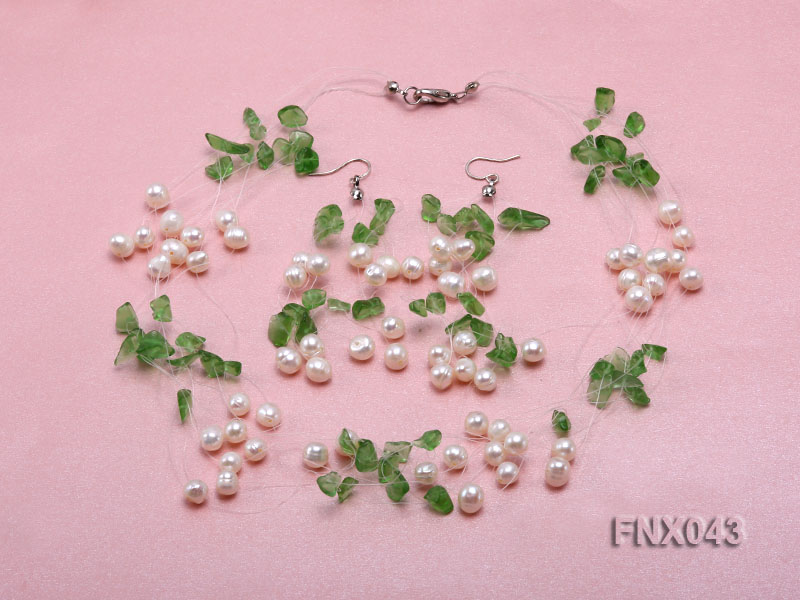 6-7mm Cultured Freshwater Pearl & Green Crystal Chips Necklace and Earrings Set big Image 1