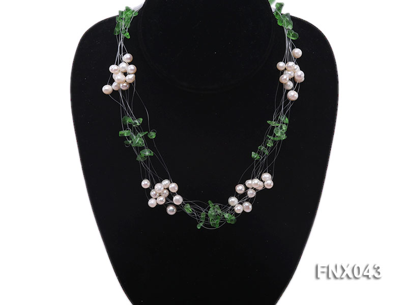 6-7mm Cultured Freshwater Pearl & Green Crystal Chips Necklace and Earrings Set big Image 2