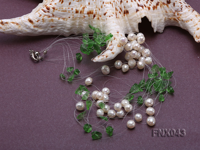 6-7mm Cultured Freshwater Pearl & Green Crystal Chips Necklace and Earrings Set big Image 4