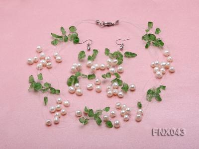 6-7mm Cultured Freshwater Pearl & Green Crystal Chips Necklace and Earrings Set FNX043 Image 1