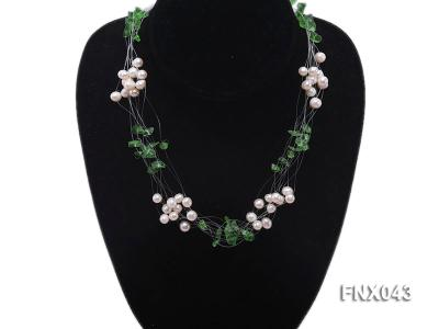 6-7mm Cultured Freshwater Pearl & Green Crystal Chips Necklace and Earrings Set FNX043 Image 2