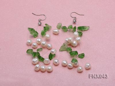 6-7mm Cultured Freshwater Pearl & Green Crystal Chips Necklace and Earrings Set FNX043 Image 3