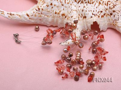 6-7mm Cultured Freshwater Pearl & Smoky Quartz Chips Necklace and Earrings Set FNX044 Image 3