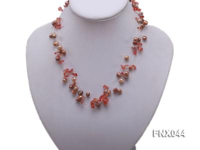 6-7mm Cultured Freshwater Pearl & Smoky Quartz Chips Necklace and Earrings Set FNX044 Image 5