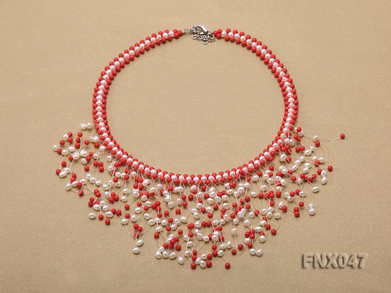 3-4mm White Cultured Freshwater Pearl & 3mm Red Coral Beads Galaxy Necklace big Image 1