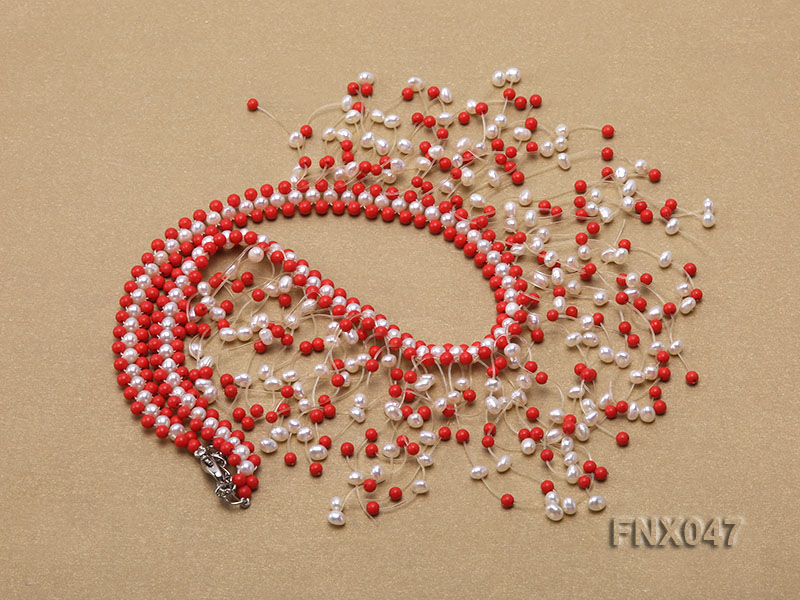 3-4mm White Cultured Freshwater Pearl & 3mm Red Coral Beads Galaxy Necklace big Image 2