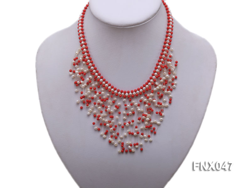 3-4mm White Cultured Freshwater Pearl & 3mm Red Coral Beads Galaxy Necklace big Image 3
