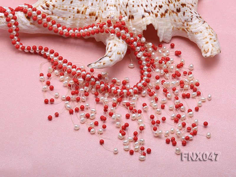 3-4mm White Cultured Freshwater Pearl & 3mm Red Coral Beads Galaxy Necklace big Image 4