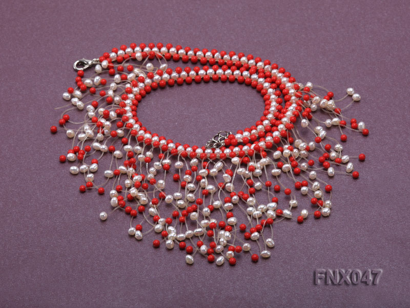 3-4mm White Cultured Freshwater Pearl & 3mm Red Coral Beads Galaxy Necklace big Image 5