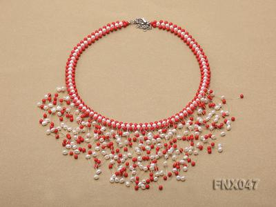 3-4mm White Cultured Freshwater Pearl & 3mm Red Coral Beads Galaxy Necklace FNX047 Image 1