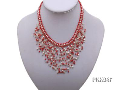 3-4mm White Cultured Freshwater Pearl & 3mm Red Coral Beads Galaxy Necklace FNX047 Image 3