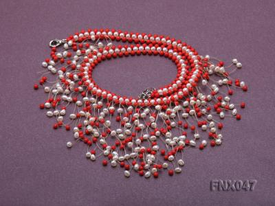 3-4mm White Cultured Freshwater Pearl & 3mm Red Coral Beads Galaxy Necklace FNX047 Image 5