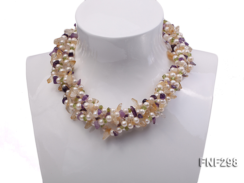 Five-strand White Freshwater Pearl Necklace with Olivine Chips, Purple and Yellow Crystal Chips big Image 1
