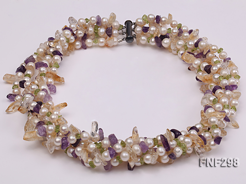 Five-strand White Freshwater Pearl Necklace with Olivine Chips, Purple and Yellow Crystal Chips big Image 2
