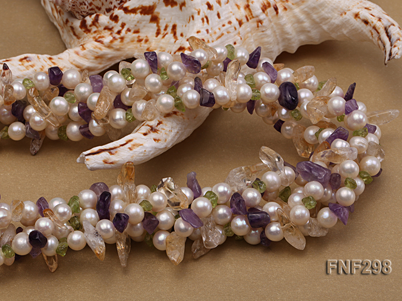 Five-strand White Freshwater Pearl Necklace with Olivine Chips, Purple and Yellow Crystal Chips big Image 3