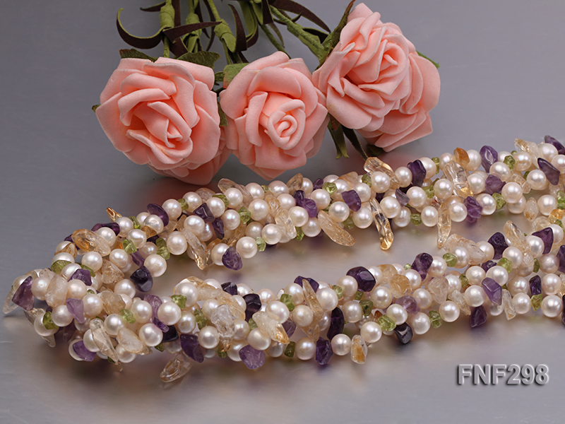 Five-strand White Freshwater Pearl Necklace with Olivine Chips, Purple and Yellow Crystal Chips big Image 4
