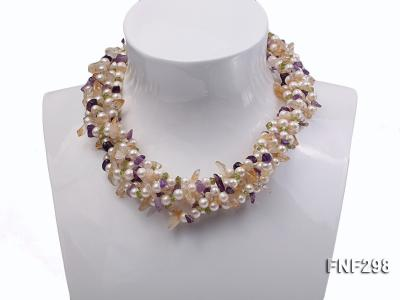 Five-strand White Freshwater Pearl Necklace with Olivine Chips, Purple and Yellow Crystal Chips FNF298 Image 1