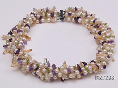 Five-strand White Freshwater Pearl Necklace with Olivine Chips, Purple and Yellow Crystal Chips FNF298 Image 2