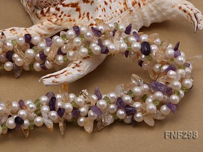 Five-strand White Freshwater Pearl Necklace with Olivine Chips, Purple and Yellow Crystal Chips FNF298 Image 3