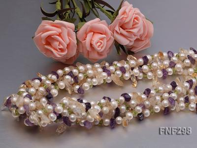 Five-strand White Freshwater Pearl Necklace with Olivine Chips, Purple and Yellow Crystal Chips FNF298 Image 4