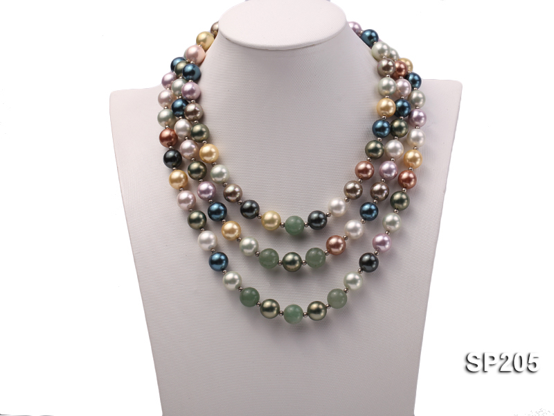 12mm luxurious seashell pearl and green jade three-strand necklace big Image 1